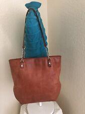 Michael Kors Jet Set Orange Leather Chain Shoulder Tote Handbag