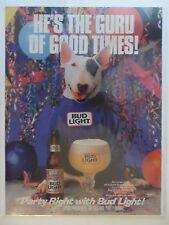 1988 Print Ad Bud Light Budweiser Beer ~ Spuds Mackenzie Dog Guru of Good Times