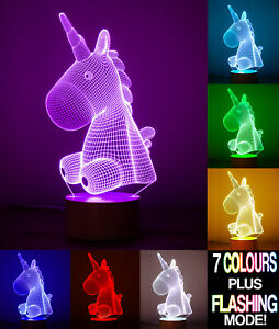 Unicorn 3D Optical Illusion Night Light with Touch Control
