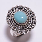 925 Sterling Silver Ring Size US 8, Natural Larimar Handcrafted Jewelry CR3122