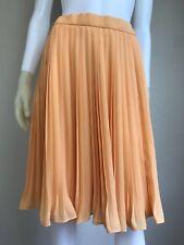 Women's Vintage 1970's Escada Orange Designer Pleated Skirt, Size M, Pre-Owned