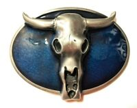 ✖ WESTERN Skull Cowboy Rodeo Style ✖ Belt Buckle Buck ✖ blue antique silver