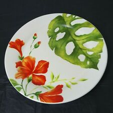 """Pier 1 Imports Retired Ironstone Salad Plate Tropical Orange Green 8.75"""" FLAW"""