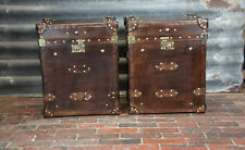 Antique Pair of Handmade Leather Occasional Side Table Trunks