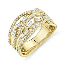 14K Gold Baguette Diamond Open Ring Multi Row Statement Right Hand Crossover