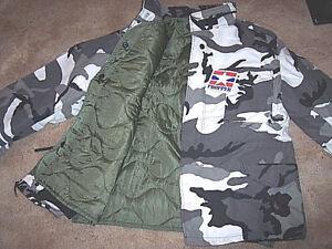 XL Long Military Bdu Jacket Snow Camo Jacket Urban Camo Cold Weather Coat Liner