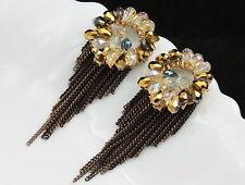 Rhinestones tassels gold earrings F97 Handcraft sea green brown clear crystal