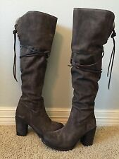 New FREEBIRD Brock Over The Knee Grey Suede Leather Boots Sz 6 $395