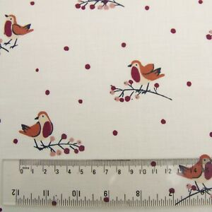 CHRISTMAS ROBINS FABRIC REMNANT 49cms x 130cms  POLY COTTON PATCHWORK CRAFT
