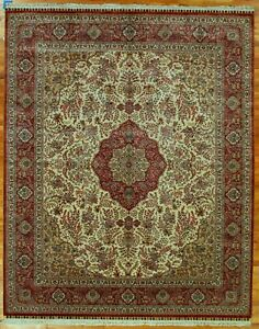 Ivory Silk High End New Zhenping Collection Stylish Rug 8' x 10' Rug