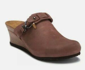 Birkenstock Papillio Dana Clog Sandals EUR 36 Womens Sz 5 US Brown Leather Wedge
