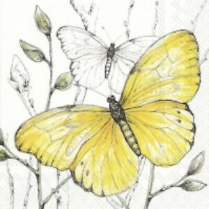 4 x paper napkins for decoupage, crafts, scrapbooks - Colourful Butterflies Yell