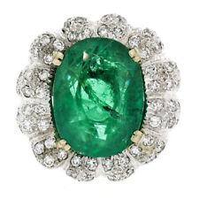 Vintage 18K White Gold 15.15ctw Large Oval Brilliant GIA Emerald & Diamond Ring