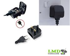 EU 2 Pin to UK 3 Pin Main Power Plug Adapter Black  with 5A Fused UK