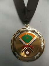 color insert Softball gold medal with black neck drape trophy