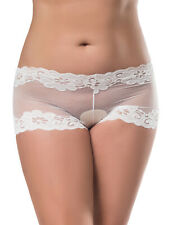 Plus Size Mesh Lace Boyleg Underwear - White