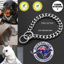 Large Stainless Steel Silver Chain Dog Collar Cuban Link Unique Designer Choke