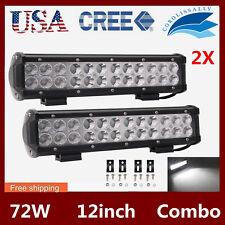 2PCS 12inch 72W LED CREE Light Bar Driving Work SPOT FLOOD Bumper Pickup Jeep US
