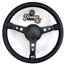 "Classic Car 13"" Retro Black 3 Spoke Black Vinyl Steering Wheel Boss Fitting Kit"