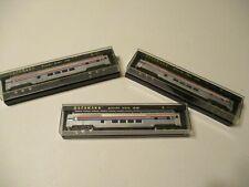 3 FULL DOMED PASSENGER CARS - BACHMANN - N SCALE - AMTRAK - ORIGINAL BOXES