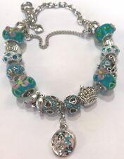 ❤️European CHARM BEADS BRACELET ~ AQUA Beads & Sterling Silver Plated Chain #2❤️