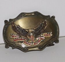 Vintage Right to Bear Arms Brass Belt buckle Eagle 3d As is broken 2nd amendment