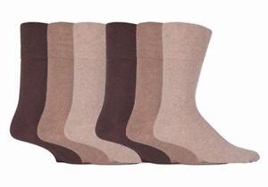 IOMI - Mens 6 Pack Wide Loose Top Non Binding Elastic Cotton Crew Diabetic Socks