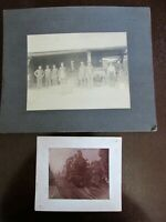 2 Railroad Train Cabinet Card Photo Photographs Pennsylvania Work Crew Engine