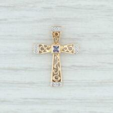 .14ctw Tanzanite & Diamond Cross Pendant 14k Yellow Gold Openwork