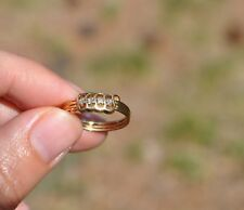 14K SOLID YELLOW GOLD RING - NATURAL DIAMONDS - UNIQUE RIPPLED CURVED LINES- 6.5