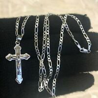 "925 Sterling Silver Cross Pendant 24""chain"