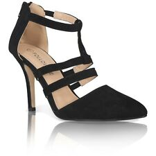 WOMENS LADIES HIGH HEEL POINT TOE STILETTO SANDALS ANKLE STRAP COURT SHOES
