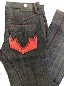 NEW Men's ANTIK Denim *BOOTCUT Raw/Indigo Blue Jeans w*Red Pleather Sz:34-42