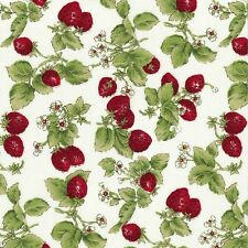 Strawberry with leaves on White David Textile 100% Cotton Fabric by the Yard