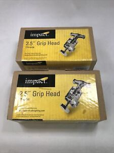 SET OF 2 Impact Grip Head for Lights/ Accessories 2.5 Dia. Chrome Silver KCP-200