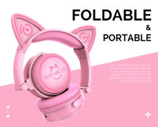 Cat Ear Headset Wireless Bluetooth Headphones Stereo AUX Earphone for Smartphone Pink W/pink Light