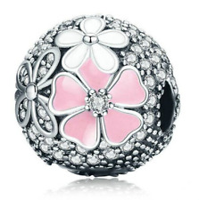 Flower European Silver Pendant CZ Crystal Charm Beads Fit Necklace Bracelet  !