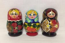 3x Russian MATRYOSHKA Nesting Doll Refrigerator Magnets - Hand Painted Wood #3