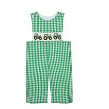 Green Tractor Smocked Longall NEW *jon jon boutique *