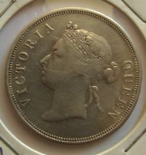 1888 Straits Settlements 50 Cents Queen Victoria VF- Coin