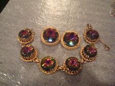 Vintage Schiaparelli Bracelet Earring Watermelon Heliotrope Gold Plate Married