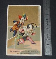 CHROMO 1880-1900 DUBOIS FLEURISTE LAVAL COMBLE DE L'AGILITE POUR UN CLOWN CIRQUE