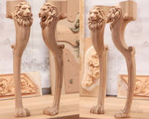 Wood Unusual Table Leg Lion Head And Paw Unfinished Perfect Carving