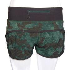 LULULEMON Camouflage Green Black Shorts Lined Speed Run Womens size 4 - 5183