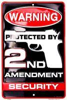 "Warning 2nd Amendment Gun Security 8"" x 12"" Metal Sign Embossed Plaque Decor"