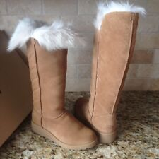 UGG ROSALIND CHESTNUT SUEDE TOSCANA FUR KNEE HIGH WEDGE TALL BOOTS US 8 WOMENS