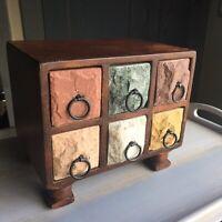 "Vintage Stone-Face Wood Jewelry Trinket Box 6 Drawers 7.5""W 6.5""H 5.5""D"