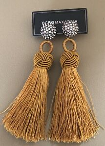 BCBG MAXAZRIA BLACK TASSEL STATEMENT EARRINGS