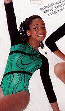 NWOT Axis Gymnastic Dance Leotard Green Black 3/4 sleeve foil velvet int. ch6x-7