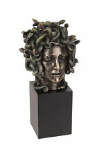 Cast Bronze Resin Medusa Head Figure on Plinth Bust Sculpture Painted Accent Art